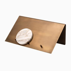 Balancing Letter Holder in Brass and Calacatta Marble by Studiocharlie for Salvatori