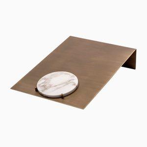Porta documenti Balancing in ottone e marmo Calacatta di Studiocharlie per Salvatori