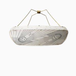 Lampe à Suspension avec Abat-jours Faits Main, 1958