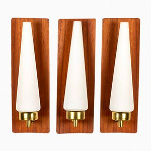 Danish Teak, Brass, & Opaline Glass Wall Lamps, 1960s, Set of 3