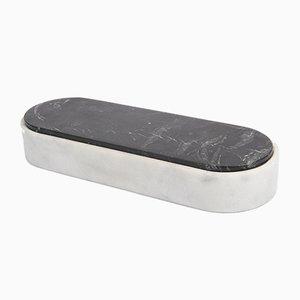 Lui&Lei Behälter aus Bianco Carrara Marmor mit Deckel aus Nero Marquinia Marmor von Vincent Van Duysen für Salvatori