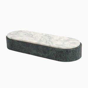 Lui&Lei Container in Verde Alpi Marble with Lid in Cipollino Marble by Vincent Van Duysen for Salvatori