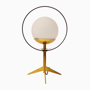 Brass, Glass & Pink Perspex Table Lamp from Stilux Milano, 1960s