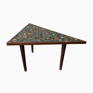 Tavolino da caffè vintage in legno con mosaico