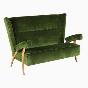 Italian Beech & Velvet Sofa, 1950s