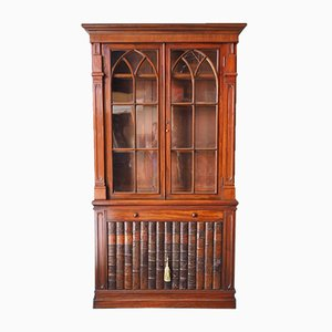 Antique Gothic Style Mahogany & Faux Leather Display Cabinet