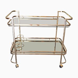 Vintage Gilded Brass Drinks Trolley