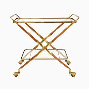 Italian Brass & Glass Trolley, 1950s