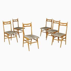 Italian Beech & Skai Chairs, 1950s, Set of 6