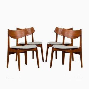 Sedie in teak di Funder-Schmidt & Madsen, Danimarca, anni '60, set di 4
