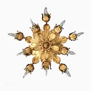 Mid-Century Italian Gilt Flush Wall or Ceiling Light