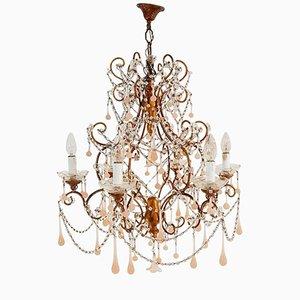 Lámpara de araña vintage de cristal de Murano y Macaroni