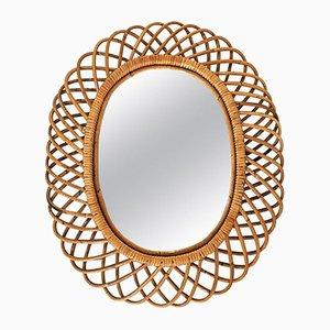 Ovaler Vintage Spiegel mit Rattanrahmen