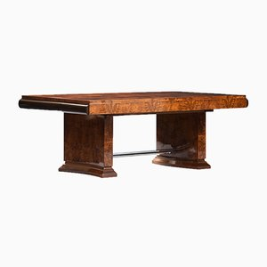 Large Art Deco Walnut Root Veneer Dining Table