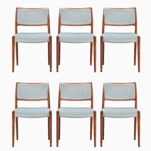 Model 80 Rosewood Dining Chairs by N.O. Møller for J.L. Møllers, Set of 6