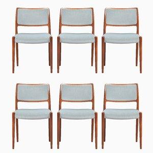 Modell 80 Esszimmerstühle aus Palisander von N.O. Møller für J.L. Møllers, 6er Set