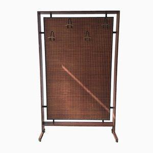 Garderobe aus Holz & Balsaholz mit Haken aus schwarzem Eisen & Messing, 1950er