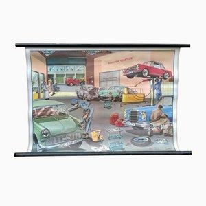 Poster educativo raffigurante un garage di D. Lordey per MDI, 1968