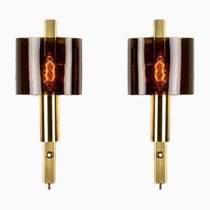 Applique serie HT Rustic in ottone di Hassel & Teudt, anni '60, set di 2