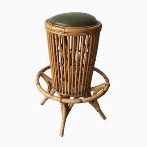 Taburete Mid-Century de bambú, años 50