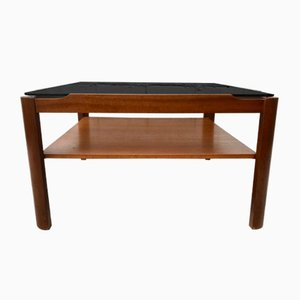 Vintage Glass & Teak Square Coffee Table