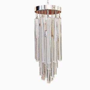 Lámpara colgante en cascada vintage de cristal de Murano, años 70