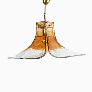 Lámpara colgante Mid-Century floral de cristal de Murano en ámbar, años 60