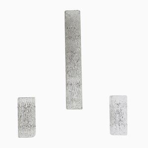 Textured Ice Glass Wall Sconces by J.T. Kalmar, 1960s, Set of 3