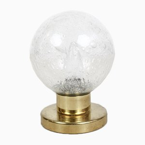 Lámpara de mesa de vidrio y latón de Doria Leuchten, años 60