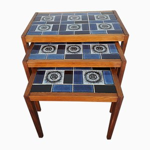 Mid-Century Teak and Ceramics Nesting Tables