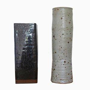 French Studio Pottery Vases, 1970s, Set of 2