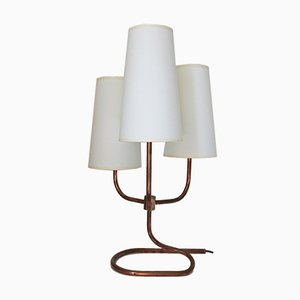 Mid-Century French Copper & Brass Table Lamp