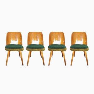 Tschechoslowakische Esszimmerstühle aus Buche & Stoff von Tatra, 1960er, 4er Set