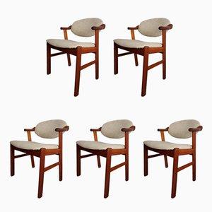 Sedie da pranzo in teak e lana di Kaï Kristiansen per SVA Møbler, anni '60, set di 5