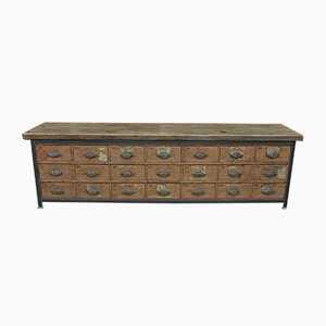 Shop Cabinet with Drawer in Metal and Wood, 1920s