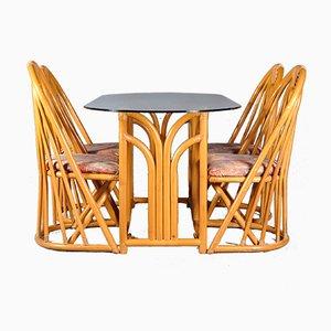 Französischer Tisch und Stühle aus Bambus, 1970er