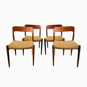 Mid-Century Danish Model 75 Teak Dining Chairs by Niels Møller for J.L. Møller Møbelfabrik, Set of 4