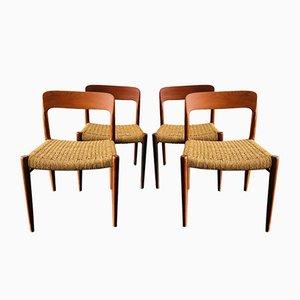 Mid-Century Danish Model 75 Teak Dining Chairs by Niels Møller for J.L. Møller Møbelfabrik, Set of 4