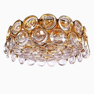 Lampada ad incasso in cristallo e placcata in oro di Palwa, anni '60
