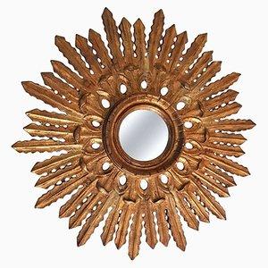 Specchio barocco intagliato a forma di sole, anni '50