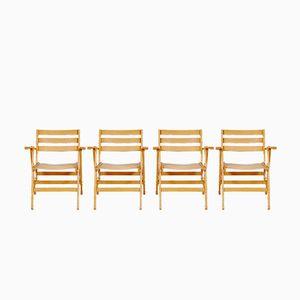 Sedie pieghevoli in legno dei Fratelli Reguitti, anni '60, set di 4