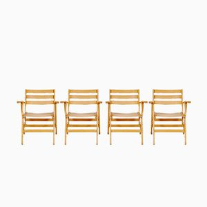 Wooden Folding Chairs from Fratelli Reguitti, 1960s, Set of 4