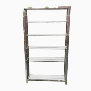 Vintage Stainless Steel & Glass Shelf