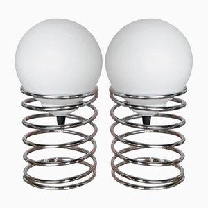Lámparas de mesa pequeñas en espiral de Woja, años 70. Juego de 2