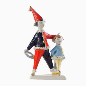 Figurine vintage raffiguranti due bambini vestiti da clown di Hollóháza