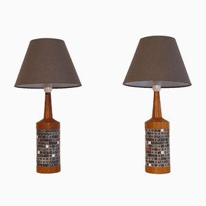 Lámpara danesa vintage de teca y mosaico