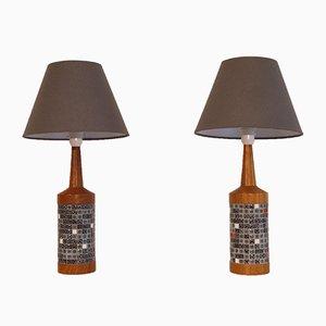 Vintage Danish Teak & Mosaic Lamp
