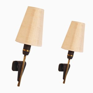 Scandinavian Metal & Brass Sconces, 1960s, Set of 2
