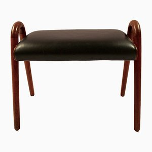 Teak and Black Leather Stool by Vilhelm Lauritzen, 1960s