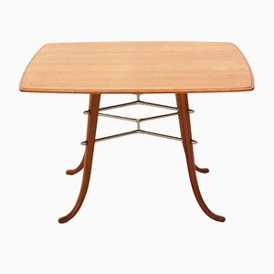 Mesa de centro de latón, cerezo y fresno, años 50
